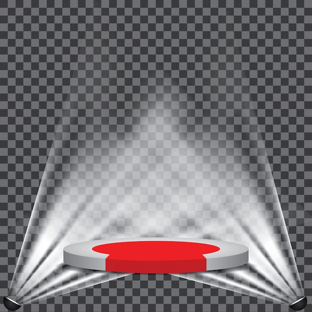 Tappeto rosso sul palco del podio con riflettori Vettore Premium