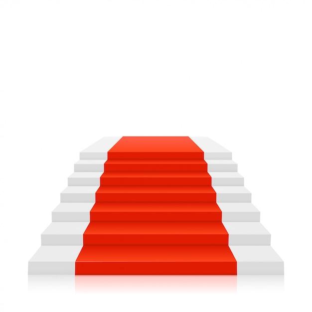 Tappeto rosso sulle scale bianche Vettore Premium