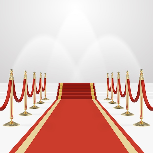 Tappeto rosso sulle scale per svuotare il podio bianco illuminato Vettore Premium