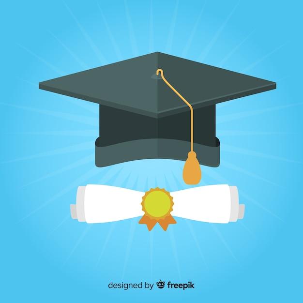 Tappo di laurea e diploma con design piatto Vettore gratuito