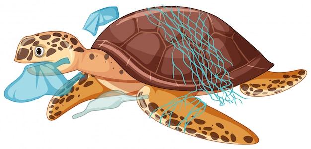 Tartaruga di mare e sacchetti di plastica su fondo bianco Vettore Premium