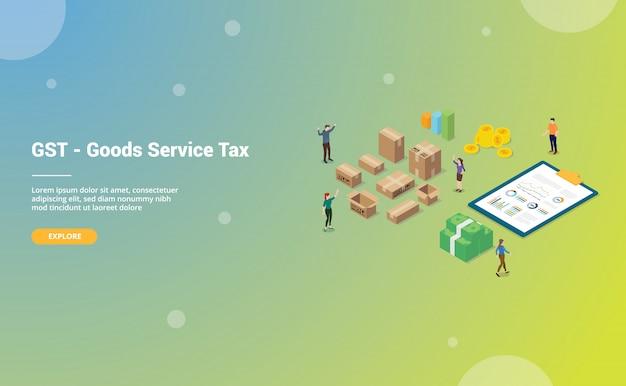 Tassa di servizio merci gst con grandi parole team di persone con isometrica moderna per homepage di atterraggio del modello di sito web Vettore Premium