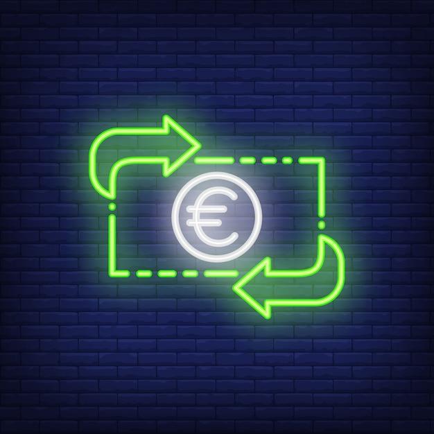 Tasso di cambio dell'euro illustrazione di stile al neon. converti, guadagna, trasferisci. banner di valuta Vettore gratuito