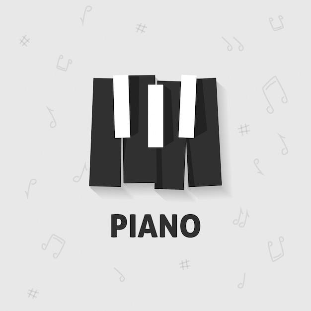 Tasti del pianoforte piatti in bianco e nero Vettore Premium