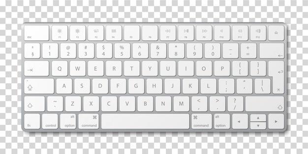 Tastiera di computer moderna in alluminio su sfondo trasparente. Vettore Premium