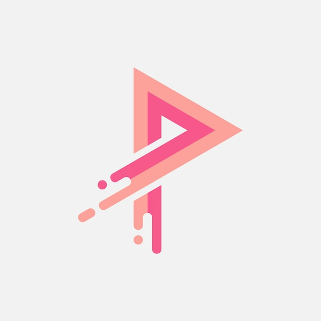 Tasto play con design logo splash Vettore Premium