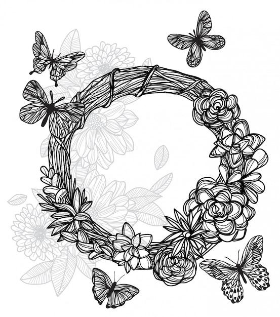 Tattoo_butterfly e fiore Vettore Premium