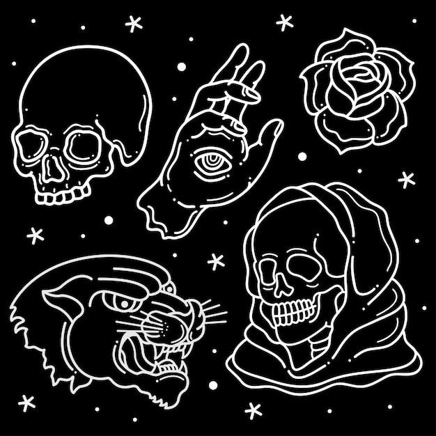 Tattoo tattoo di printset Vettore Premium