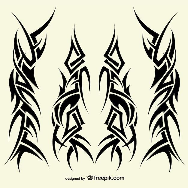 Tatuaggi collezione disegni tribali Vettore gratuito