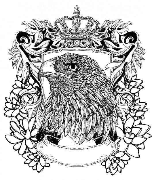 Tatuaggi il disegno e lo schizzo di simbolo dell'aquila di arte con la linea illustrazione di arte isolata Vettore Premium