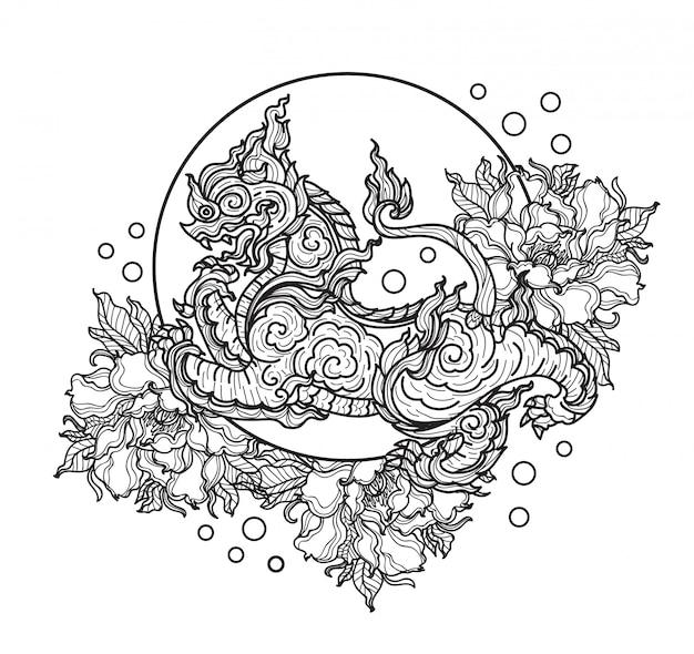 Tatuaggi il disegno e lo schizzo tailandesi della mano del fiore della tigre di arte in bianco e nero Vettore Premium
