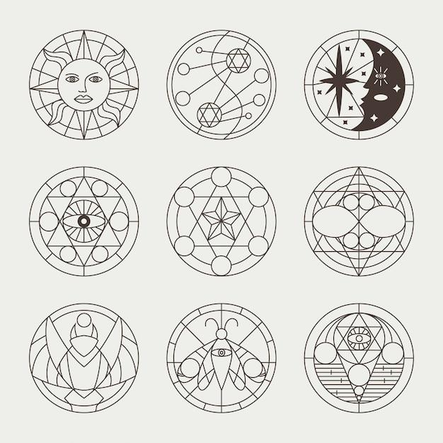 Tatuaggi mistici occulti, cerchi di stregoneria, segni sacri, elementi e simboli. le icone magiche geometriche di vettore hanno impostato isolato Vettore Premium