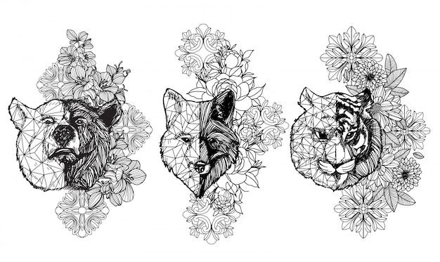Tatuaggio arte animale disegno e schizzo in bianco e nero con disegni al tratto Vettore Premium