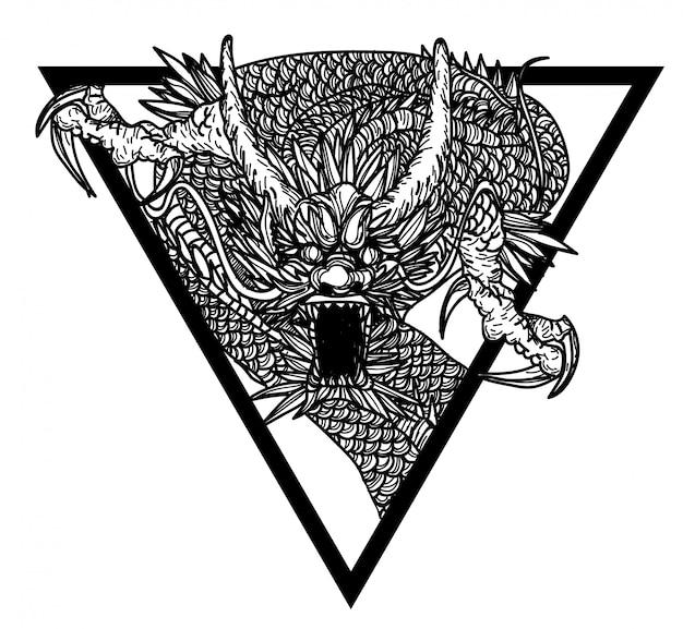 Tatuaggio arte dargon mano disegno e schizzo in bianco e nero Vettore Premium