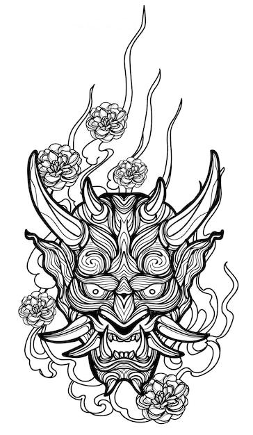 Tatuaggio arte disegno a mano gigante e schizzo in bianco e nero Vettore Premium