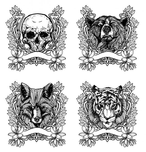 Tatuaggio arte disegno animale e schizzo in bianco e nero Vettore Premium