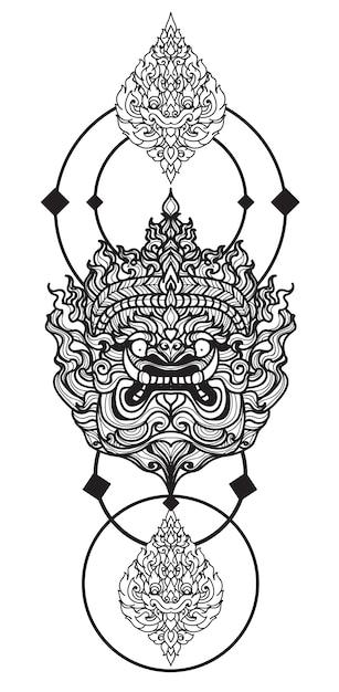 Tatuaggio arte gigante disegno a mano e schizzo in bianco e nero con Vettore Premium