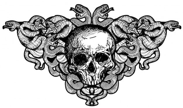Tatuaggio arte teschi e serpenti disegno a mano Vettore Premium