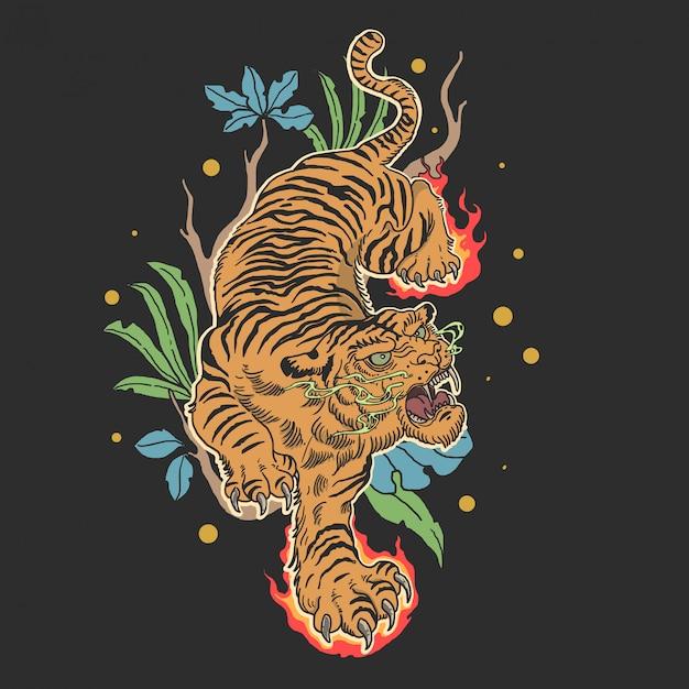 Tatuaggio classico tigre Vettore Premium