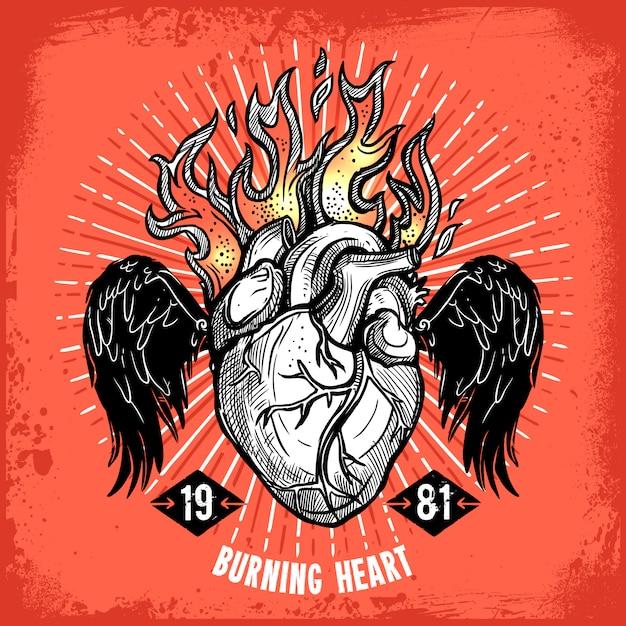 Tatuaggio cuore ardente Vettore gratuito
