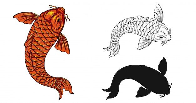 Tatuaggio del pesce di koi a mano disegno Vettore Premium