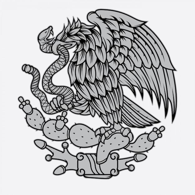 Tatuaggio di aquila messicana e serpente Vettore Premium