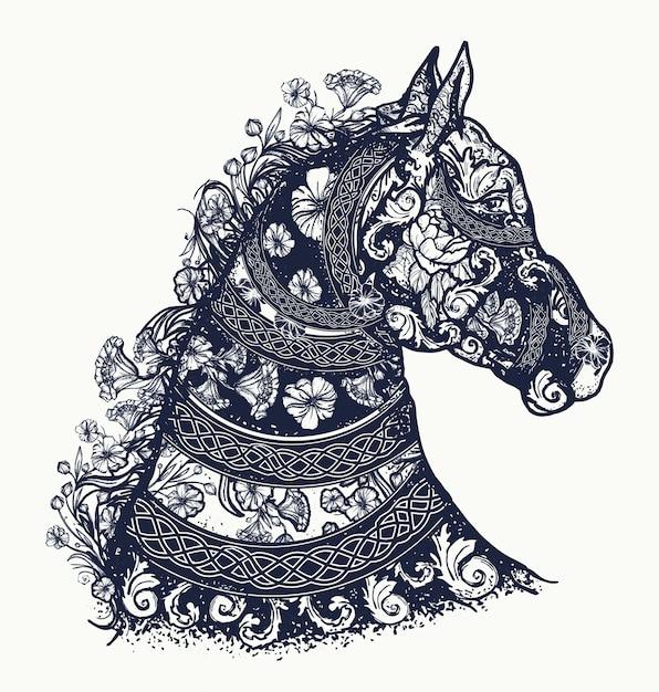 Tatuaggio di cavalli e design di t-shirt Vettore Premium