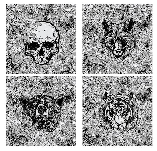 Tatuaggio di disegno a mano animale e schizzo in bianco e nero Vettore Premium