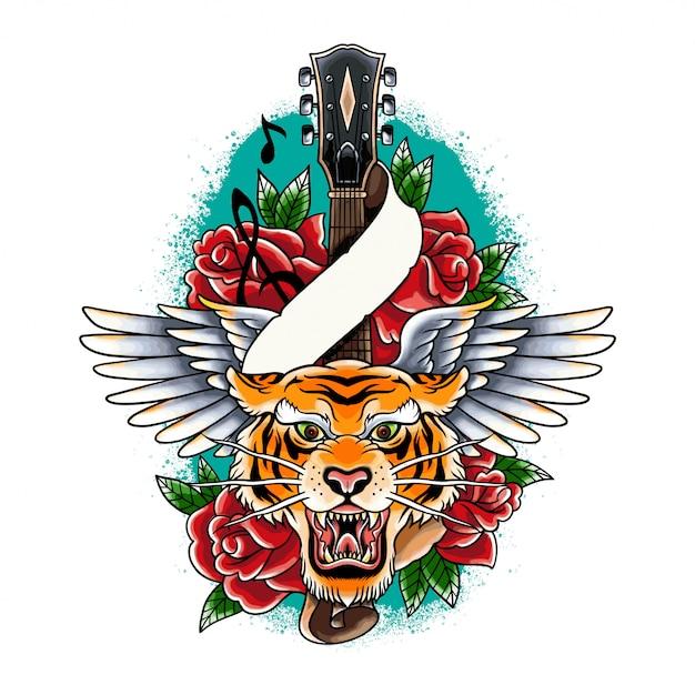 Tatuaggio di tigre colorato vettoriale disegnato a mano con ala di chitarra e illustrazione di rose Vettore Premium