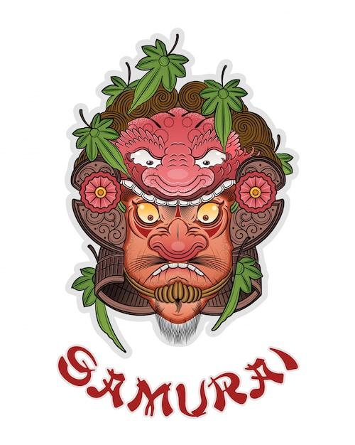 Tatuaggio di un buon samurai in un casco Vettore Premium
