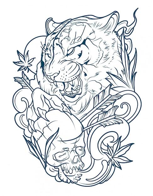 Tatuaggio di una tigre diabolica con un teschio umano Vettore Premium