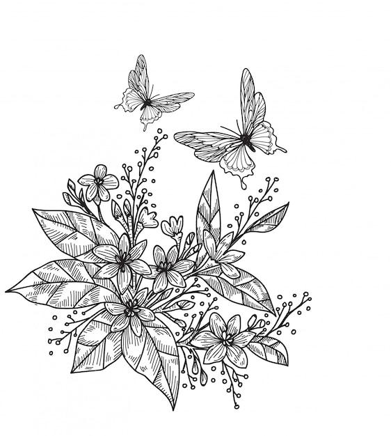 Tatuaggio farfalla Vettore Premium