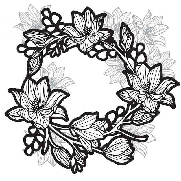 Tatuaggio farfalle di fiori Vettore Premium