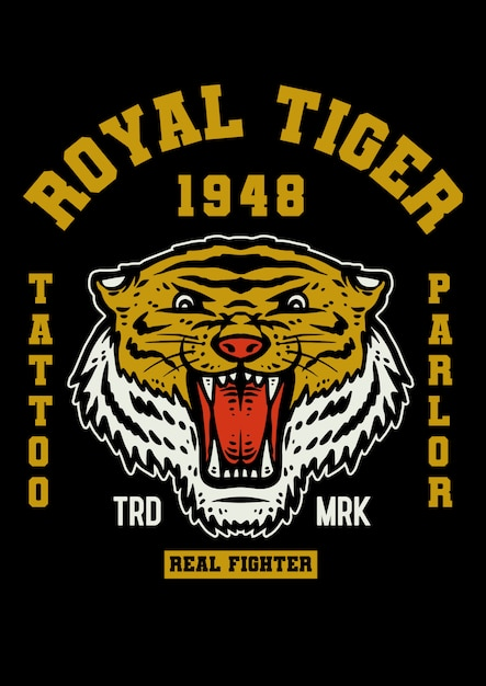 Tatuaggio mascotte tigre in stile vintage Vettore Premium