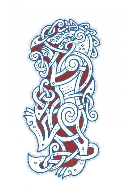 Tatuaggio scandinavo del lupo cattivo Vettore Premium