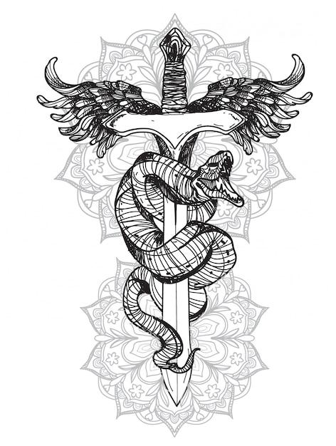 Tatuaggio serpente Vettore Premium