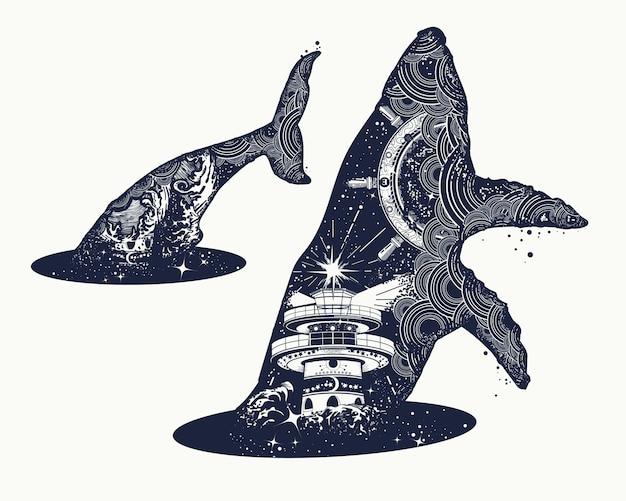 Tatuaggio surreale a doppia esposizione di balene Vettore Premium