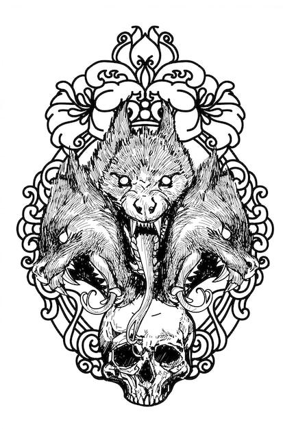 Tatuaggio teschio e lupo disegno a mano schizzo in bianco e nero Vettore Premium