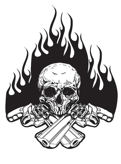 Tatuaggio teschio e pistola Vettore Premium
