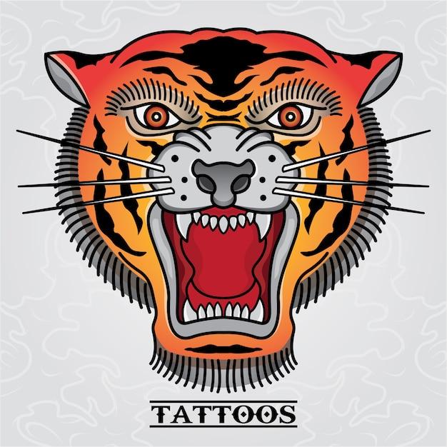 Tatuaggio tigre vecchio teschio Vettore Premium