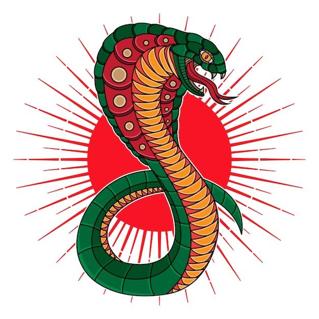 Tatuaggio tradizionale con serpente cobra flash Vettore Premium