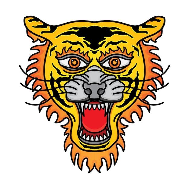 Tatuaggio tradizionale testa di tigre Vettore Premium