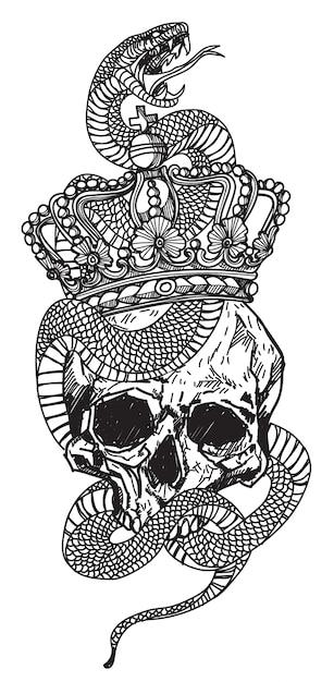 Tatuare un serpente avvolto attorno a un teschio Vettore Premium
