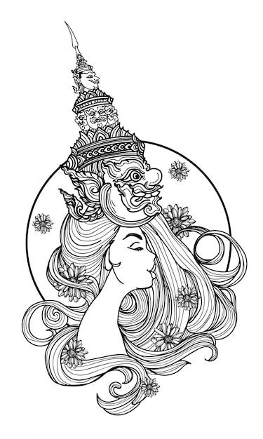 Tatui l'arte di una donna che indossa un disegno e uno schizzo della mano del cappello gigante tailandese Vettore Premium
