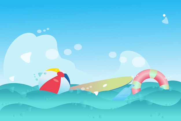 Tavola da surf e pallina d'acqua Vettore Premium