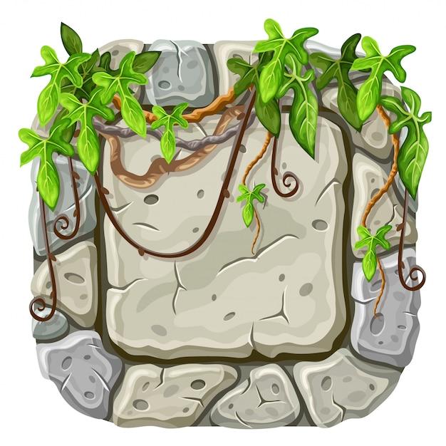 Tavola di pietra con rami e foglie di liana. Vettore gratuito