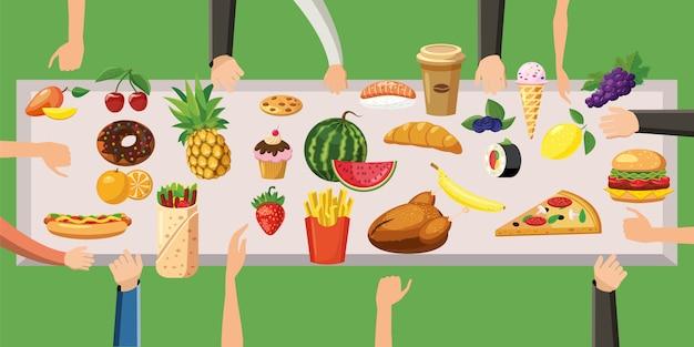 Tavola orizzontale di concetto del fondo dell'alimento Vettore Premium