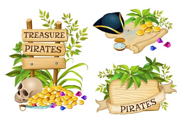 Tavole di legno, oggetti pirata e tesori Vettore gratuito