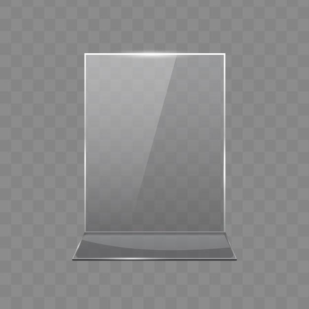 Tavolo in acrilico, espositori in vetro trasparente Vettore Premium