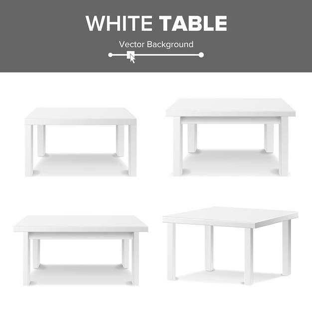 Tavolo quadrato vuoto bianco Vettore Premium